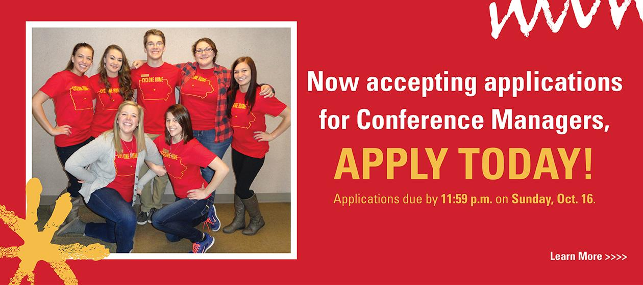 Now accepting applications for Conference Managers