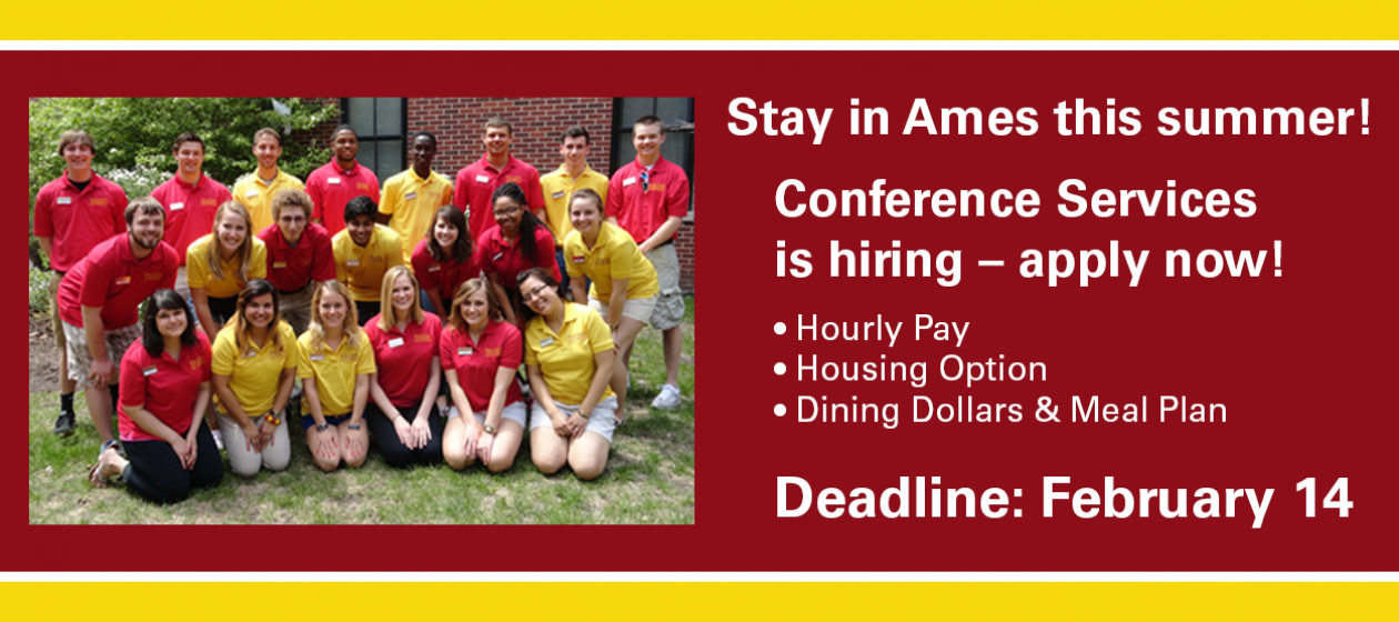 Summer Positions Available with Conference Services - Apply by Feb. 14